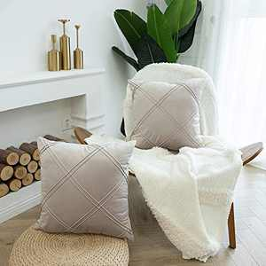 HIARUO Pack of 2 Striped Velvet Throw Pillow Covers, 18X18inch Decorative Pillowcase Square, Diamond Textured Cushion Covers for Bed/Sofa/Living Room/Car/Party/Couch, 45x45cm Taro