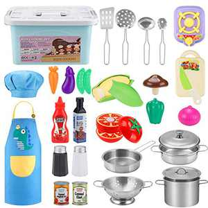 BGdoyz Kids Kitchen Cooking Set, Kitchen Pretend Set with Stainless Steel Cookware Pots and Pans Playset, Apron & Chef Hat, Stove , Can Bottles, Cutting Vegetables for Kids