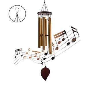 Speverdr Wind Chimes for Outside, 30'' Memorial Aluminum Wind Bell with 6 Tuned Tubes, Wooden Metal Tube Outdoor Deep Tone Wind Chimes for Garden Hanging Decor, Outside, Patio, Porch, Backyard