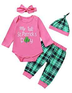 Shalofer Baby Girls My First St.Patricks Day Outfits Toddler Green Irish Bodysuit (Pink,12-18 Months)