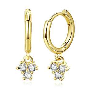 14K Gold Plated Small Huggie Hoop Earrings Cubic Zirconia Dangle Charm Dainty Cuff Earrings, Delicate Jewelry for Women Teen Girls