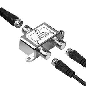 NEWCARE Digital 2-Way Coaxial Cable Splitter 5-2400MHz, RG6 Compatible, Work with Satellite TV, CATV, Antenna System(One Coax Cable Included) (Silver)
