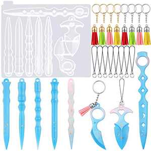 25 Pieces Keychain Pendant Resin Mold Set Includes Portable Keychain Pendant Silicone Mold 8-Cavity Keychain Epoxy Casting Mold, 8 Tassels, 8 Cell Phone Lanyards and 8 Split Open Rings for DIY Crafts
