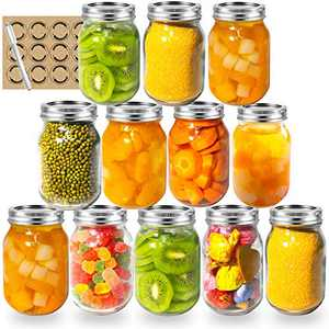 LAPANDA 16 oz Regular Mouth Mason Jars (12 Pack) with 12 Labels and One Pen, Glass Canning Jars with Silver Metal Airtight Lids and Bands, Ideal for Jam, Canning, Food Storage, Drinking, Preserving, and fermenting fruits and veggies, Tomato Juices & Sauces
