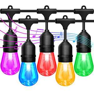 2-Pack 48FT String Lights Outdoor Sync with Music, LED RGB Color Changing Waterproof Patio Lights String, Hanging Lights with Edison Bulb, Remote Outside Light for Party, Backyard, Bistro, Deck