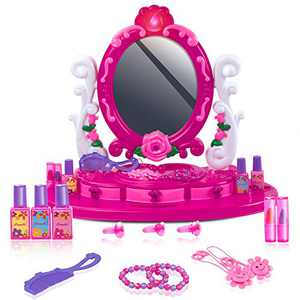 UNIH Kids Vanity Toys, Toddler Vanity Set with Mirror and Light Pretend Play Makeup Toys for 2 3 4 5 Year Old Girls