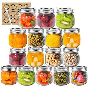 LAPANDA 8 oz Regular Mouth Mason Jars (16 Pack) with 12 Labels and One Pen, Glass Canning Jars with Silver Metal Airtight Lids and Bands, Ideal for Jam, Canning, Food Storage, Drinking, Preserving, and fermenting fruits and veggies, Tomato Juices & Sauces