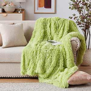"""NexHome Soft Solid Reversible Shadow Green Faux Fur Blanket Queen Size 78"""" x 90"""", Fluffy Cozy Comfy Microfiber Sofa Couch Bed Chair Photo Props Decorative Faux Fur Blankets for All Season Use"""