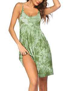 Ekouaer Nightgown Sling Printing Sleepwear V Neck Pajama Dress Chemise Nightshirt Sleeveless Nightdress S-XXL