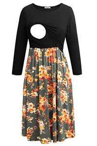 Smallshow Women's Maternity Nursing Dress 3/4 Sleeve Dress for Breastfeeding Small Black-SVP089