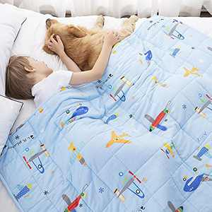 ROKDUK Kids Weighted Blanket Throw 7 lbs. 41x60 in, 100% Oeko-Tex Natural Egyptian Cotton 1200TC for Toddler Heavy Comforter with Glass Beads, Printed Baby Blue Plane