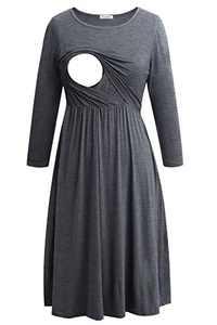 Smallshow Women's Maternity Nursing Dress 3/4 Sleeve Dress for Breastfeeding Large Deep Grey