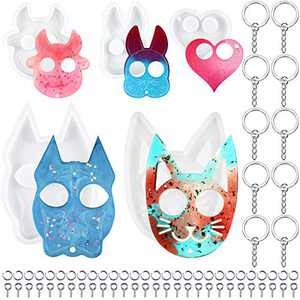 Easter Molds 5 Pieces Self Defense Keychain Resin Molds Heart Cat Rabbit Cow Dog Animal Shape Molds Epoxy Silicone Casting Mold with 20 Keychains, 100 Claw Nails, 100 Open Rings for Easter DIY Crafts