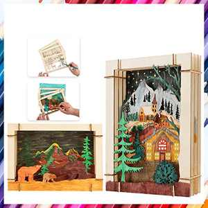3D Coloring Puzzle Reality WoodenModel Paint Kit Toys for Kids & Adult Puzzle Build 3D Puzzles Educational Crafts Building DIY xuanzhe (A Family+Bear)