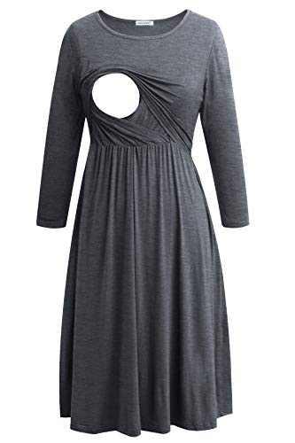 Smallshow Women's Maternity Nursing Dress 3/4 Sleeve Dress for Breastfeeding Medium Deep Grey