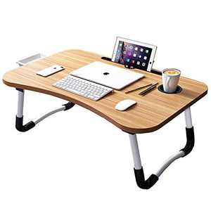 Uclet Lap Desk for Laptop Foldable Laptop Bed Tray Table Portable Laptop Desk with Cord Organizer/Storage Drawer/Cup Holder, for Sofa Couch