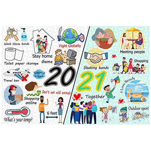 2020 to 2021 Jigsaw Puzzles 1000 Piece for Adults Kids, Wooden Puzzles Entertaining Toys, Large Puzzle Game Toys Gift (Good Wish)