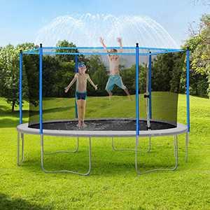 JUOIFIP 50FT Trampoline Sprinkler for Kids, Outdoor Trampoline Backyard Water Park Sprinklers Fun Summer Water Play Trampoline Sprinklers for Boys Girls (50ft / 15.24 M )
