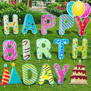 """16PC Happy Birthday Yard Sign 15"""" Large Birthday Party Decorations Yard Stakes Lawn Signs Outdoor Decal Yard Signs for Birthday Yard Lawn Party Supplies Alphabets Balloons Cake Waterproof Party Decals"""