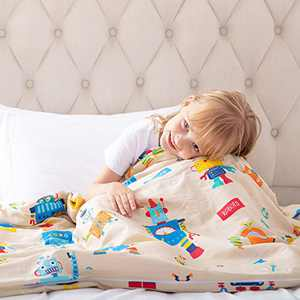ROKDUK Duvet Cover for Kids Weighted Blankets 36 x 48in 1200TC Egyptian Cotton Soft Breathable, Toddler Cover 8 Ties Zipper Closure, Print Double Pattern Cream Funny Robots