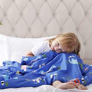 ROKDUK Duvet Cover for Kids Weighted Blankets 41 x 60in 1200TC Egyptian Cotton Soft Breathable, Toddler Cover 8 Ties Zipper Closure, Print Double Pattern Light Blue Dinosaur