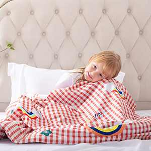 ROKDUK Duvet Cover for Kids Weighted Blankets 41 x 60in 1200TC Egyptian Cotton Soft Breathable, Toddler Cover 8 Ties Zipper Closure, Print Double Pattern Pink Rainbow Plaid