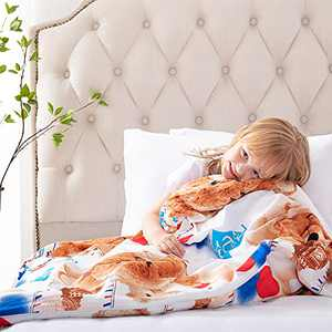 ROKDUK Duvet Cover for Kids Weighted Blankets 36 x 48in 1200TC Egyptian Cotton Soft Breathable, Toddler Cover 8 Ties Zipper Closure, Print Double Pattern White Teddy Bear