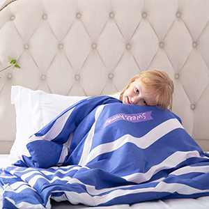 ROKDUK Duvet Cover for Kids Weighted Blankets 36 x 48in 1200TC Egyptian Cotton Soft Breathable, Toddler Cover 8 Ties Zipper Closure, Print Double Pattern Blue White Stripes