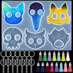 Silicone Keychain Pendant Molds 6-Cavity Finger Knuckle Resin Mold Cat Dog Owl Skull Shaped Keychain Epoxy Casting Mold with 15 Pieces Key Chains and 15 Pieces Leather Tassels for DIY Jewelry Making
