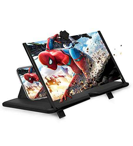 """12"""" Phone Screen Magnifier 3D Screen Amplifier HD Mobile Phone Magnifier, Videos and Gaming– Foldable Phone Stand with Screen Amplifier–Supports All Smartphones(Black)"""