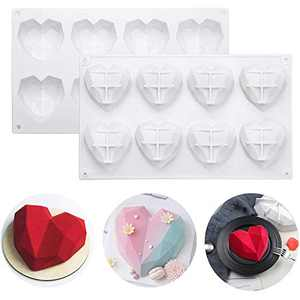 Emfure 2 Packs 8 Cavities Diamond Heart Silicone Molds for Hot Chocolate Cocoa Bombs, Mousse Cake Baking, Non-stick and BPA Free