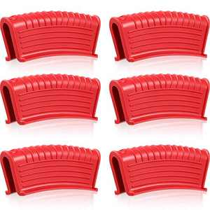6 Pieces Silicone Assist Handle Holder Hot Pan Skillet Handle Cover Non-slip Pot Holder Sleeve Heat-resistant Cast Iron Skillets Handle Case for Cast Iron Pans Cookware High Temperature Resistant, Red