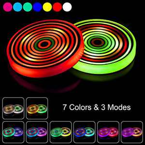 Frienda 2 Pieces LED Car Cup Holder Lights 7 Colors Luminescent Cup Pads USB Charging Mats Colorful Car Drink Coasters LED Interior Atmosphere Lamps with USB Cable for Car Interior Accessories