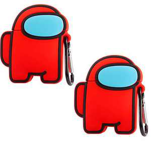2 Pairs Crewmate Silicone AirPods 1/2 Cover with Detachable Carabiner Clip- 3D Cartoon Vote Imposter Game Theme Airpods Case Protective Cover with Keychain for Men Women Boys Teens Among Us Game Fans