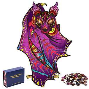 Wooden Jigsaw Puzzles for Adults,105 Pieces Unique Animal Shaped Puzzles, Family Game Play Premium Gift for Kids and Teens 9.5''(L) x 6.5(W)
