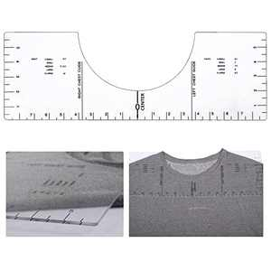 "18"" × 6"" T-Shirt Alignment Tool- Acrylic T-Shirt Alignment Guide Tool Transparent T-Shirt Vinyl Ruler to Center Designs for Sublimation Heat Transfer Vinyl Heat Press Vinyl Placement Screen Printing"
