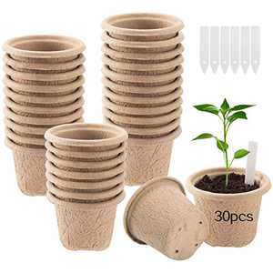 """30pcs 4"""" Extra Thickened Round Peat Pots for Seedling- Biodegradable Plant Seed Start Peat Pots with 4 Holes Eco-Friendly Plant Germination Tray with 30pcs Plant Markers for Flower Seed Germination"""