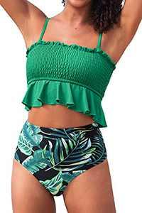 CUPSHE Women's High Waist Bikini Swimsuit Floral Print Ruffle Two Piece Bathing Suit, XL Clover Green