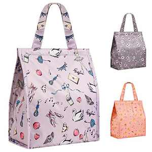 Lunch Bag Insulated Lunch Bags for Women Men Adults Girls Leakproof Reusable Lunch Bag for School Office Outdoor(Purple Swan Lake Large)