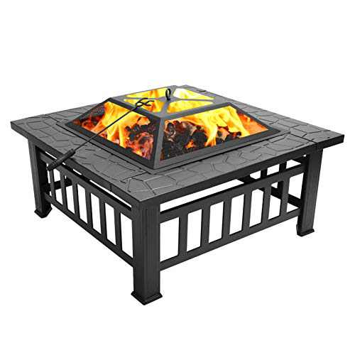 32''Outdoor Fire Pit Table, Backyard Stover Patio Burning Pit Multi Functional Garden Fireplace BBQ Ice Table with Spark Screen Log Poker