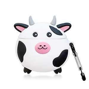 Airpods 2&1 Case Cover, Cute Cartoon Cow Kawaii Cool Funny 3D Animal Skin Soft Silicone Airpod Case Cover with Keychain Gift for Kids Teens Boys Girls Men Women