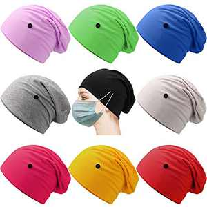 Geyoga 9 Pieces Slouchy Beanie Caps with Buttons Headwrap Bouffant Cap Elastic Sleeping Hats for Women, 9 Colors (Graceful Colors)