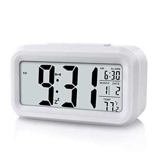 Miowachi Digital Alarm Clock for Kids,Battery Operated,Snooze Function,Smart Night Light Easy Setup Desk Clocks for Bedroom White