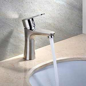 Bathroom Sink Faucet Single Handle Brushed Nickel Modern Basin Mixer Tap for Hot and Cold Water Sink Faucet Commercial Stainless Steel Faucet Sink Faucet (Brushed Nickel 1)
