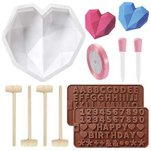 Diamond Heart Silicone Mold, Non-stick Heart Shaped Mousse Cake Mold Trays with 4 Pcs Wooden Hammers, Letter Mold and Number Chocolate Molds for Valentine Candy Chocolate Making