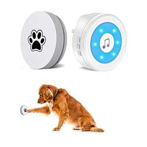 YIROKA Dog Door Bell, self-Powered Dog Potty Training Door Bell,Super-Light Press Button Doorbell,Lifetime Battery Free,Chime Operating 20 Melodies LED Flash,for All Dogs