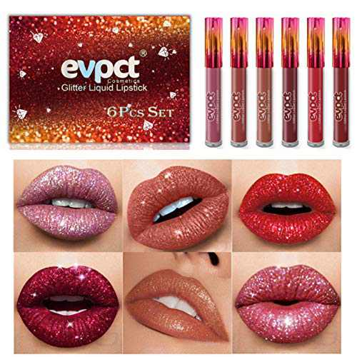 Glitter Lipstick, Matte Glitter Liquid Set 6 Colors Diamond Shimmer Metallic Lipgloss Long Lasting Pigmented Waterproof Shiny Lip Gloss Non-stick Cup Makeup Gift for Girl and Women 01
