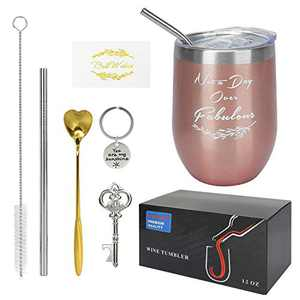 Wine Tumbler, CHPRETY Insulated Tumblers with Lid and Straw Double Wall Stainless Steel Tumbler 12 Oz Spill Proof Wine Cup Coffee Mug for Champaign, Cocktail, Beer.(ROSE GOLD-NOT A DAY OVER FABULOUS)