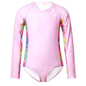 Girls Rash Guard Swimwear Mermaid Swimsuits Zipper Long Sleeve Beach Suits Pink