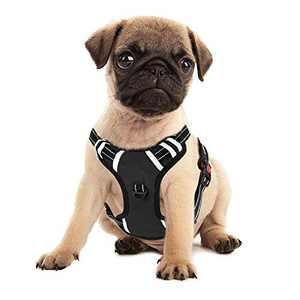 IAMUQ Dog Harness, No Pull Dog Harness Adjustable Reflective Puppy Harness, Dog Vest Harness Dog Harnesses for Small Dogs Breathable Soft Padded Dog Harnesses for Small Medium Large Dogs (Black, S)